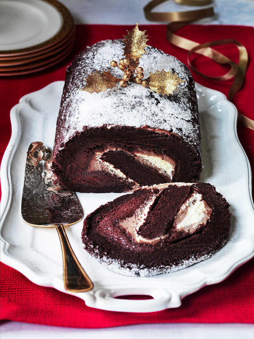 Chocolate and chestnut Christmas log
