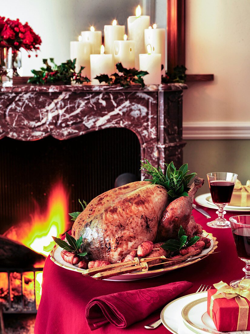 Christmas Turkey on a table by the fire