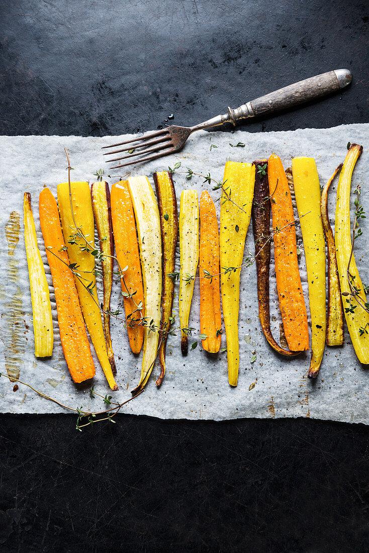 Colourful roasted carrots