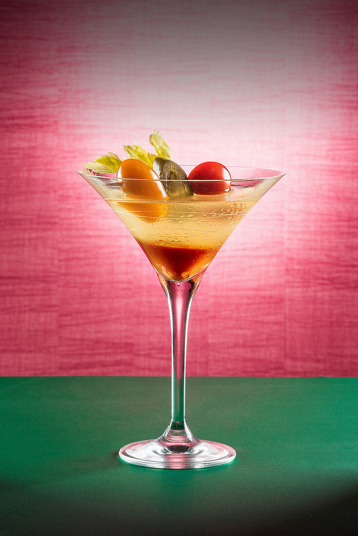 Cocktail with fruit skewer