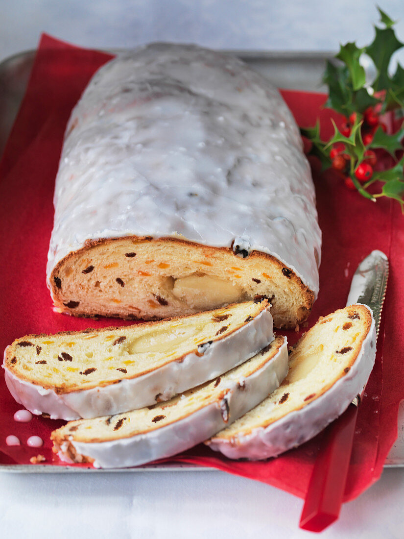 German Christmas stollen with icing