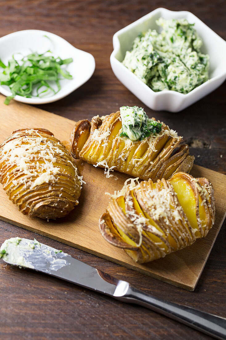 Potatoes with parmesan and herb butter