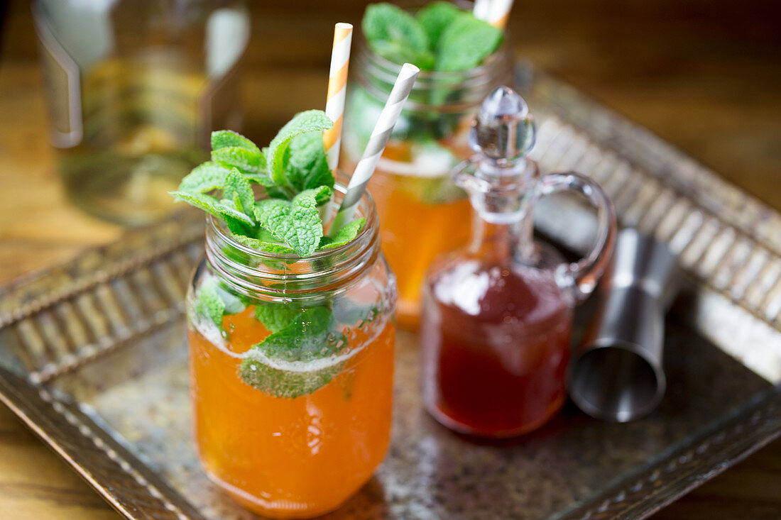 Cocktails with aperol and rhubarb syrup