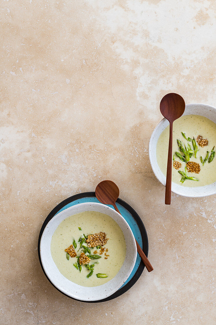 Tahini and asparagus velouté with pickled asparagus and sesame seed brittle