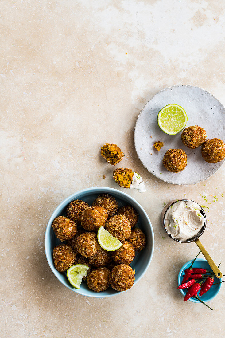 Carrot-and-harissa falafels with tahini-and lime yoghurt