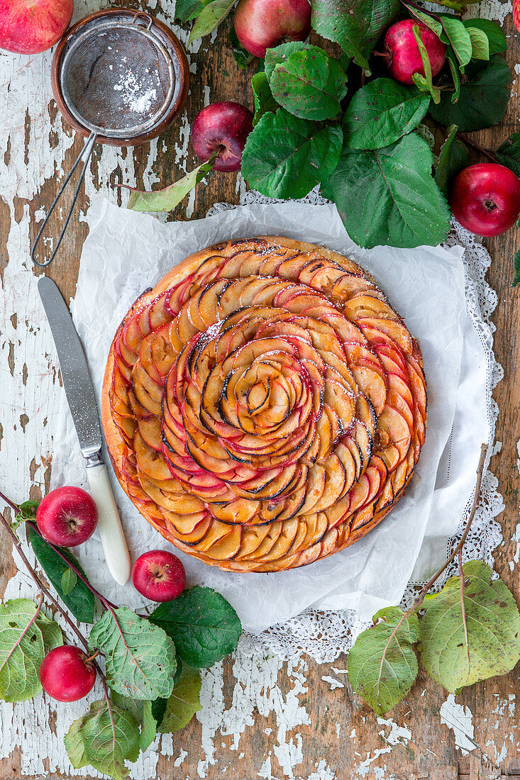 Yeast apple pie with thin apple slices and apricot jam