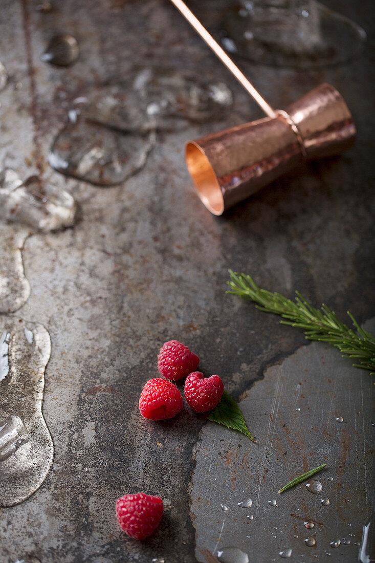 Rasberries and Shot Measure