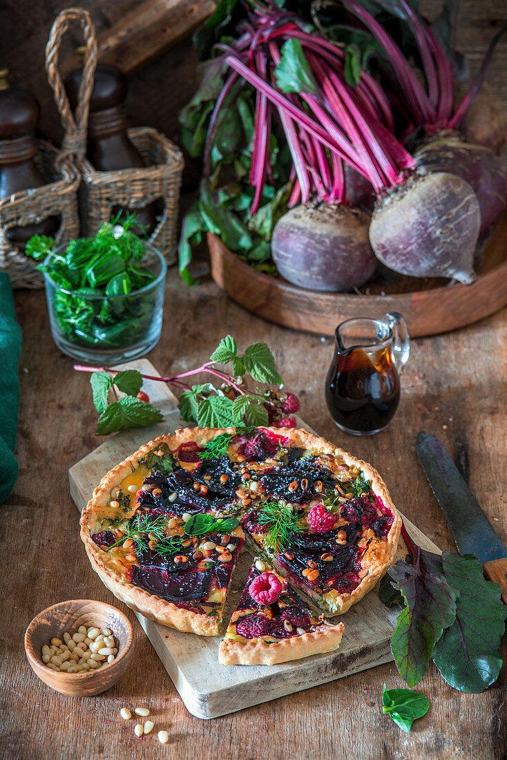 Beetroot pie with raspberries