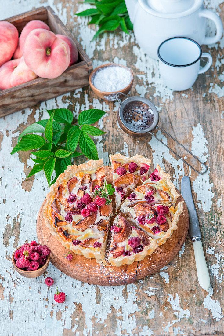 Peach and raspberry pie