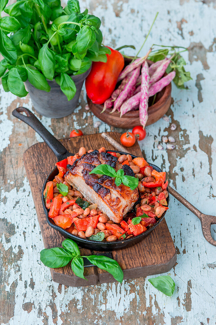 Pork roasted with beans and vegetables