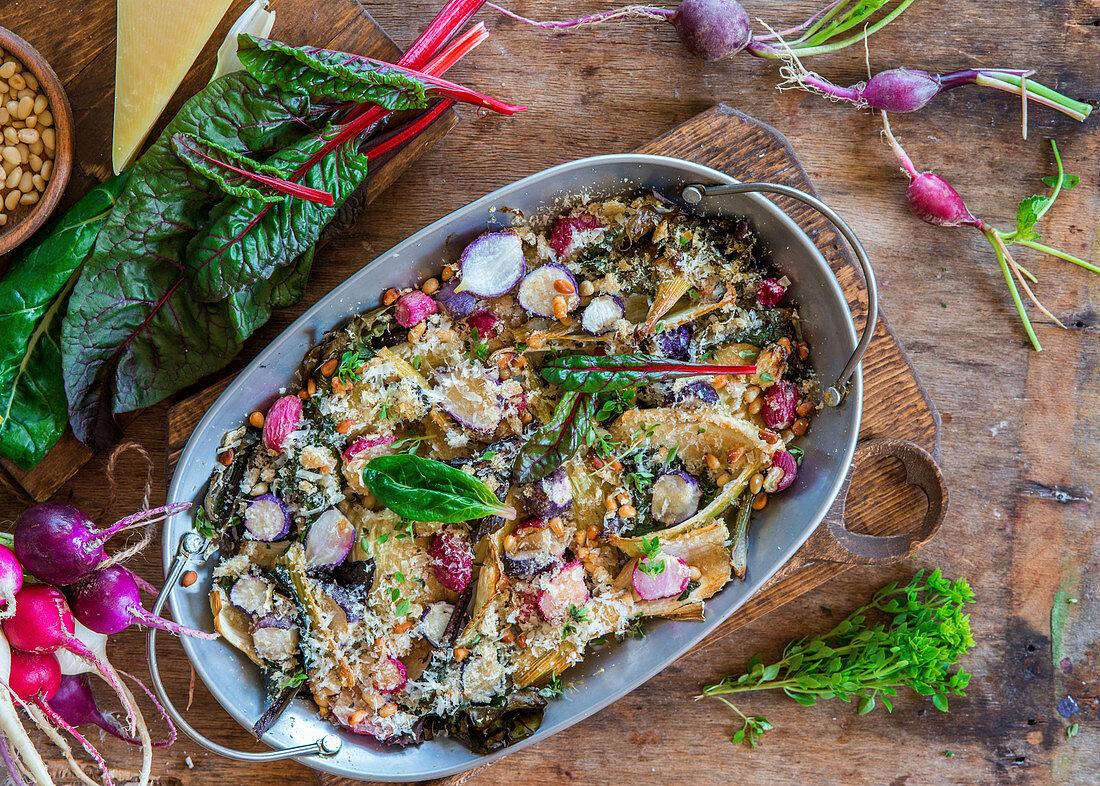 Radish, fennel and swiss chard gratin