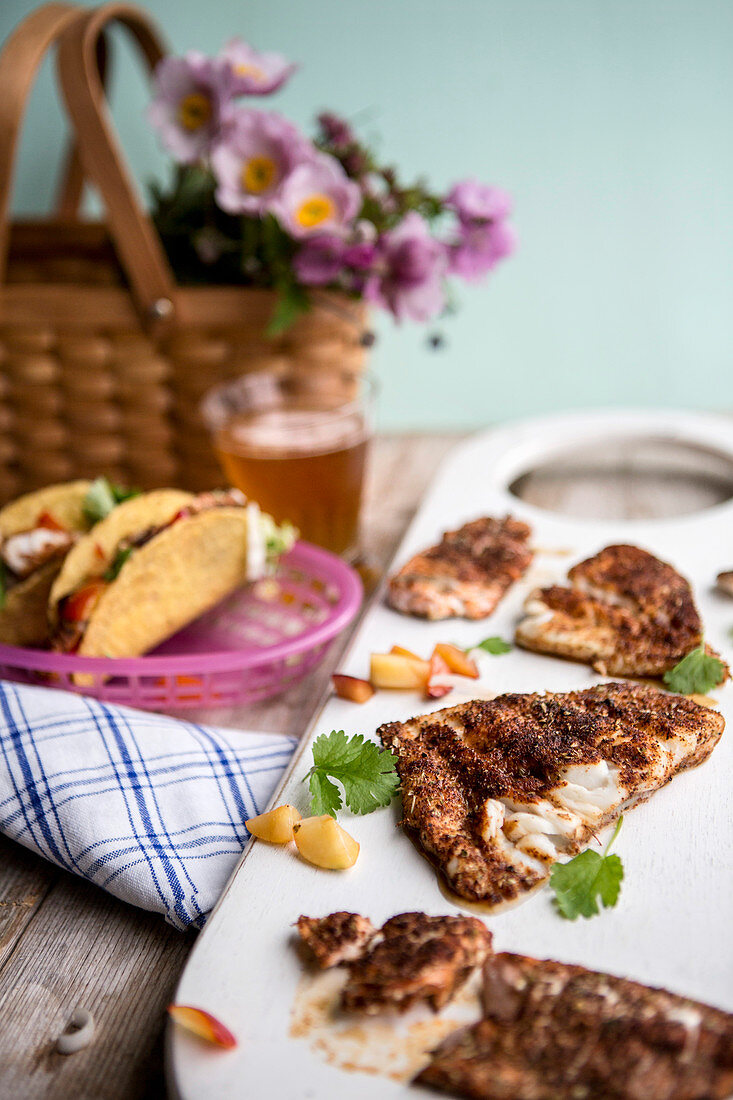 Spicy fish tacos with plum salmon