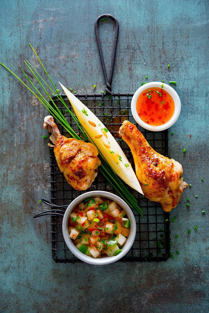 Chicken legs with melon salsa