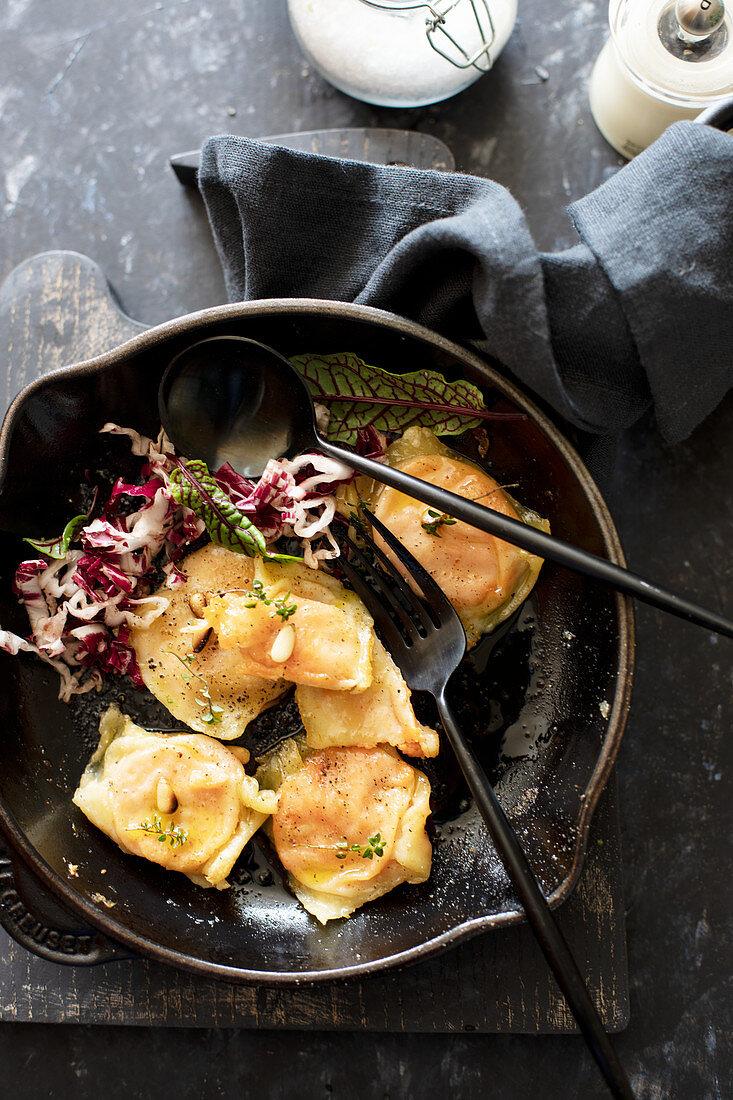 Sweet potato ravioli with parmigiana
