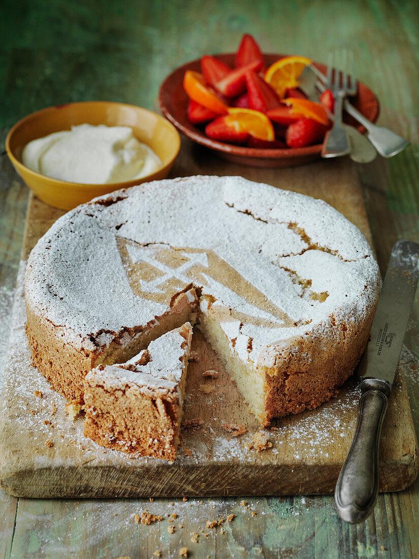 Spanish Torta de Santiago - almond cake with strawberries