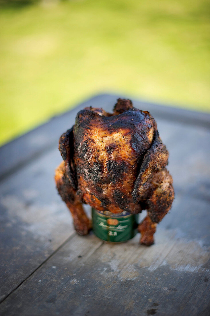 Crispy beer can chicken