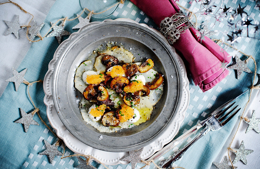 Celeriac salad with browned lemon butter, cream and mushrooms for New Year's Eve