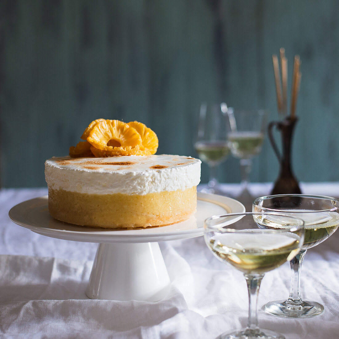 New Year's Eve Pineapple and Prosecco mousse with italian meringue