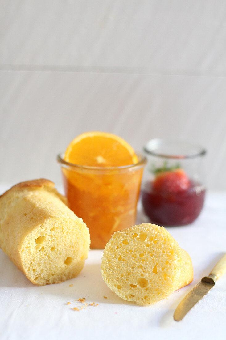 Brioche, jam and marmalade