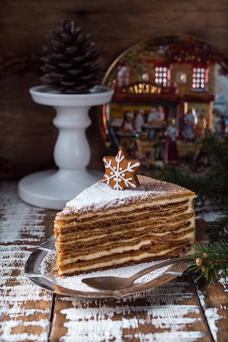 Tasty sweet cake with snowflake decoration