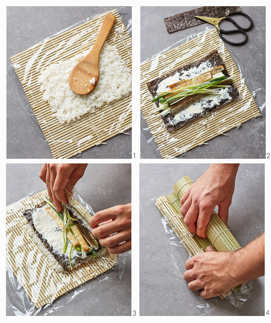 California rolls with cream cheese and crispy salmon being made