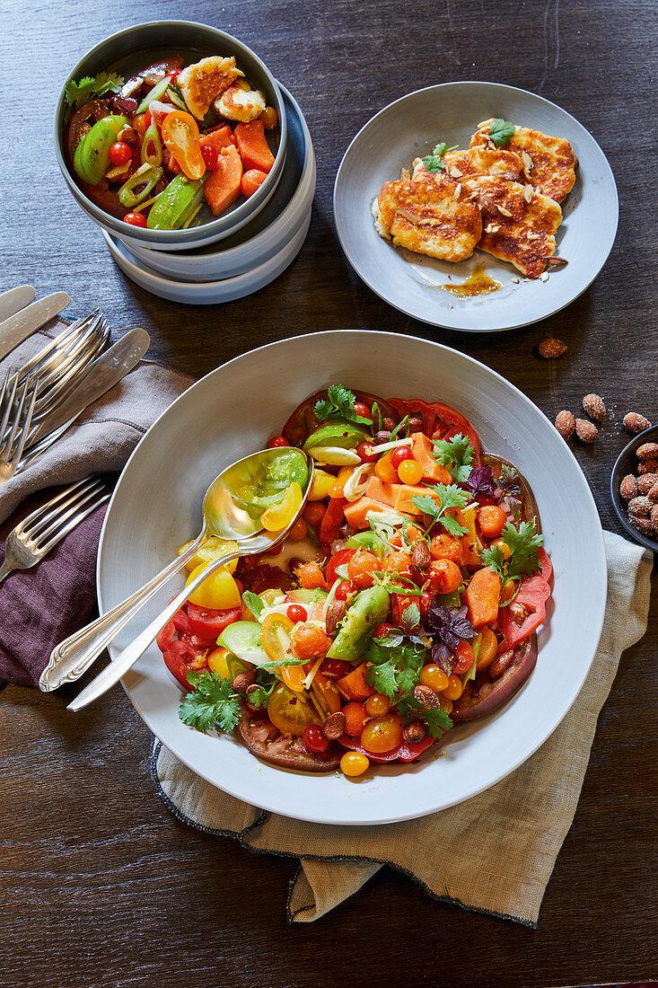 Papaya and tomato salad with halloumi and ginger-miso vinaigrette