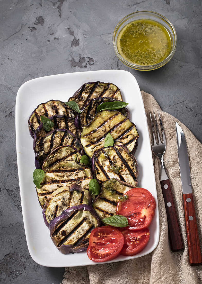 Grilled eggplant with basil vinaigrette