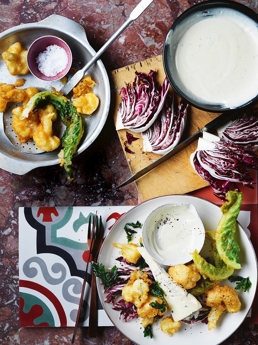 Cauliflower fritters with gorgonzola besciamella