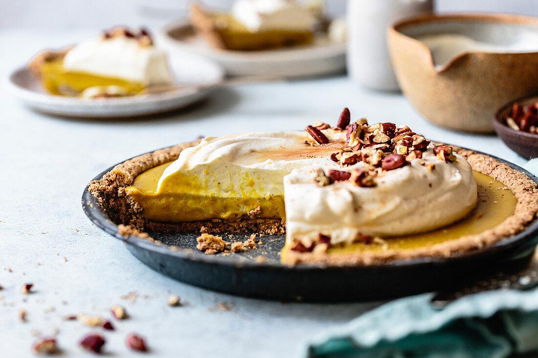 Homemade pumpkin cream pie, gluten free, made with hazelnut flour