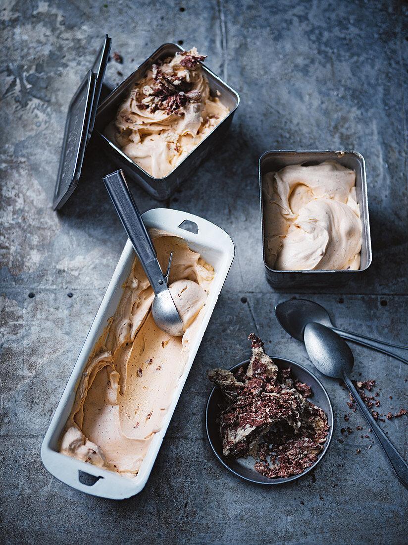 Caramel and halva ice cream