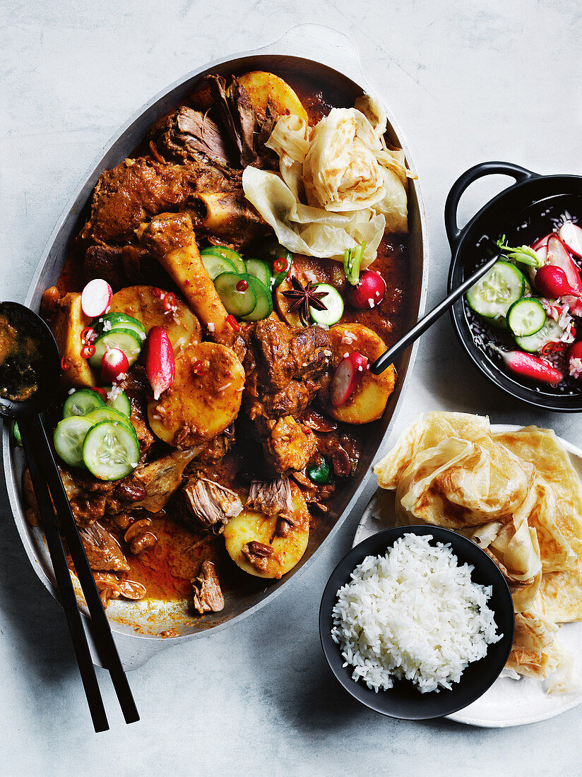 Massaman lamb leg curry with quickled vegetables