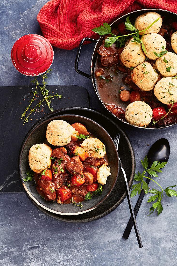 One-pot beef and beer stew with horseradish dumplings
