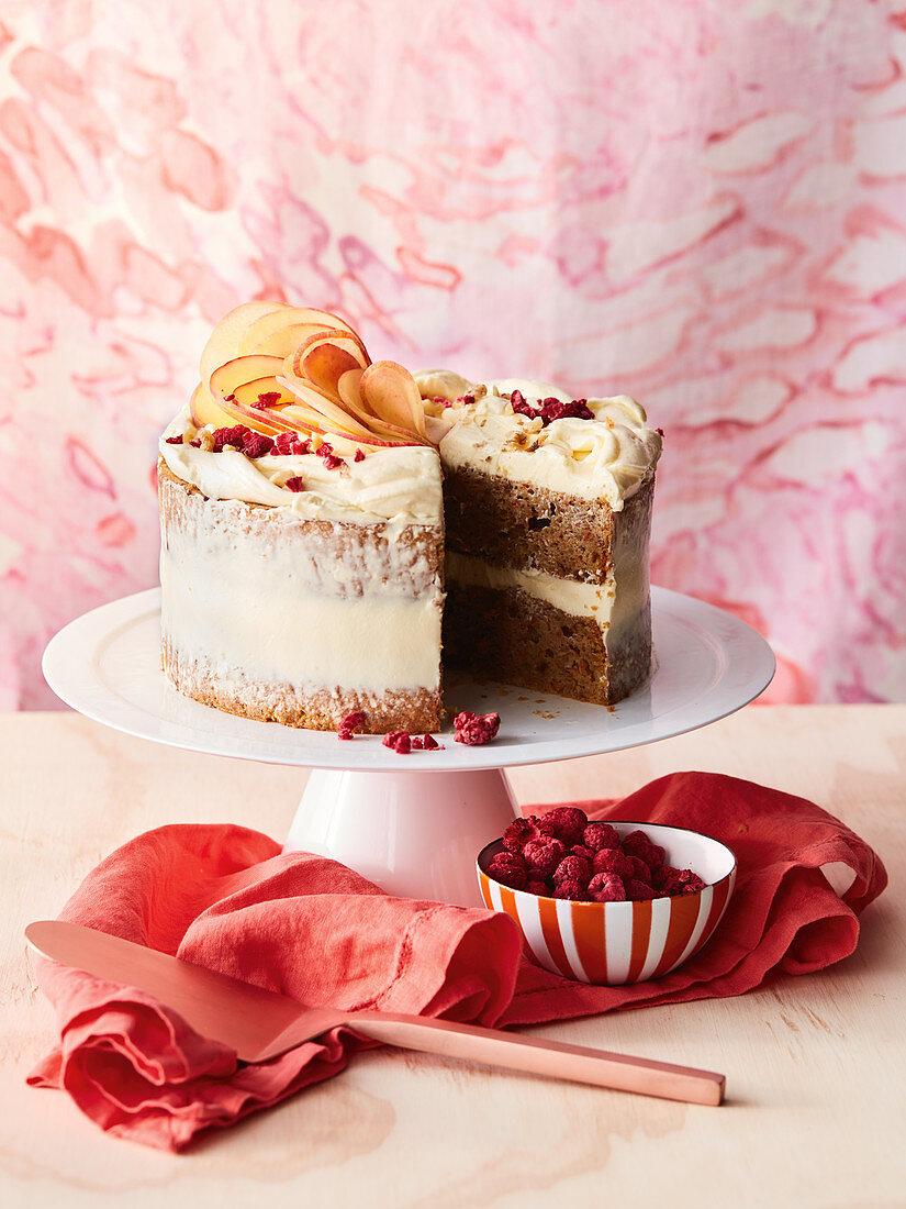 Peach, carrot walnut cake with cream cheese icing