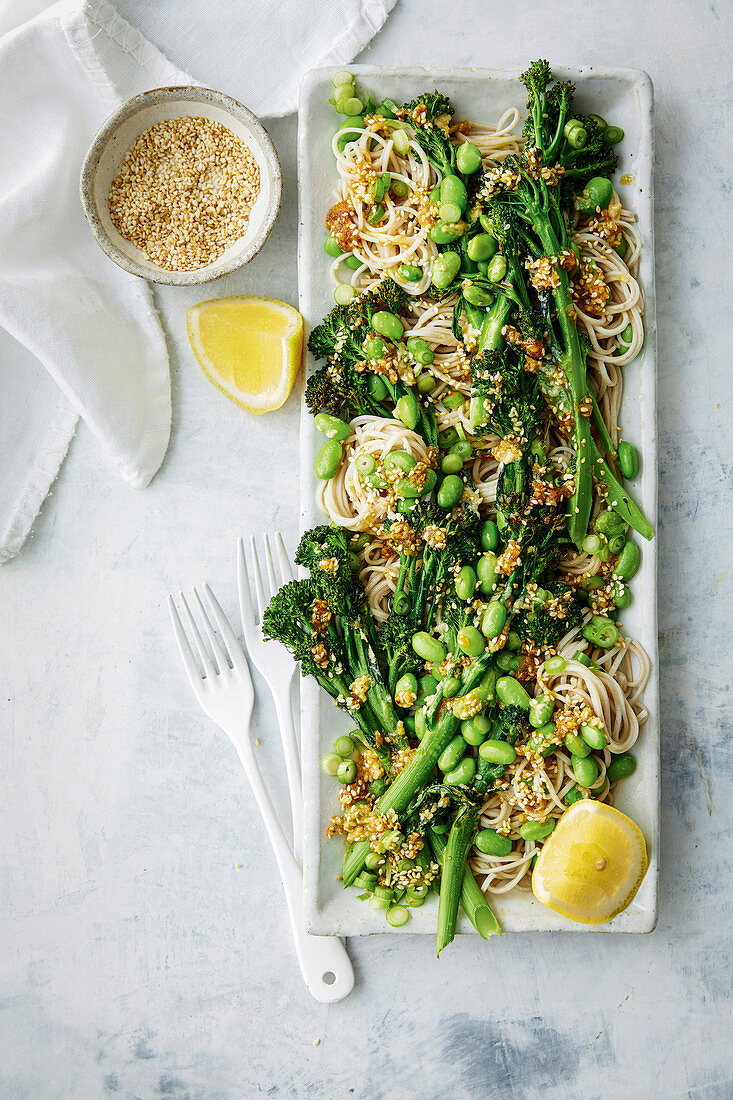 Roasted broccolini with soba noodles, edamame and sesame butter