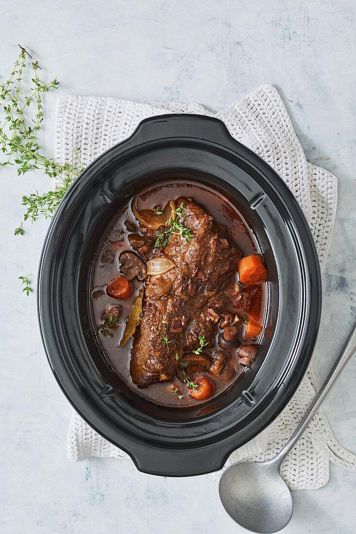 Slow cooker beef brisket bourguignon