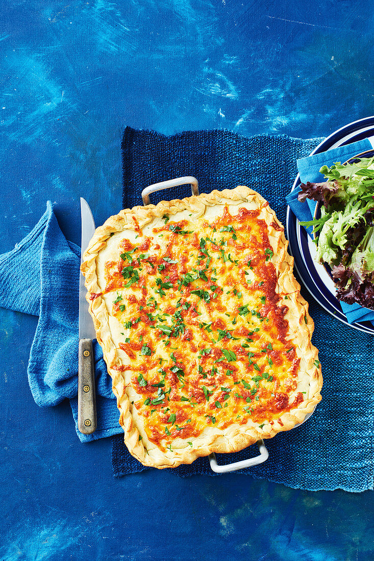 Lasagne and garlic bread bake