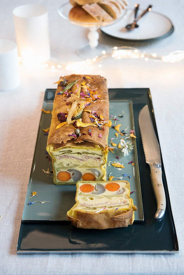 Crepe and game terrine with saffron mayonnaise