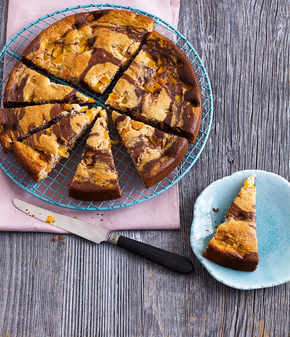 Black and white marble cake with apricots