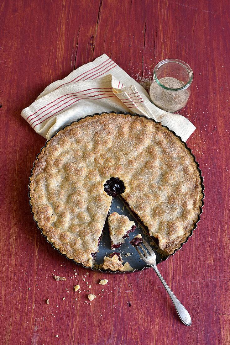 Sour cherry pie, sliced