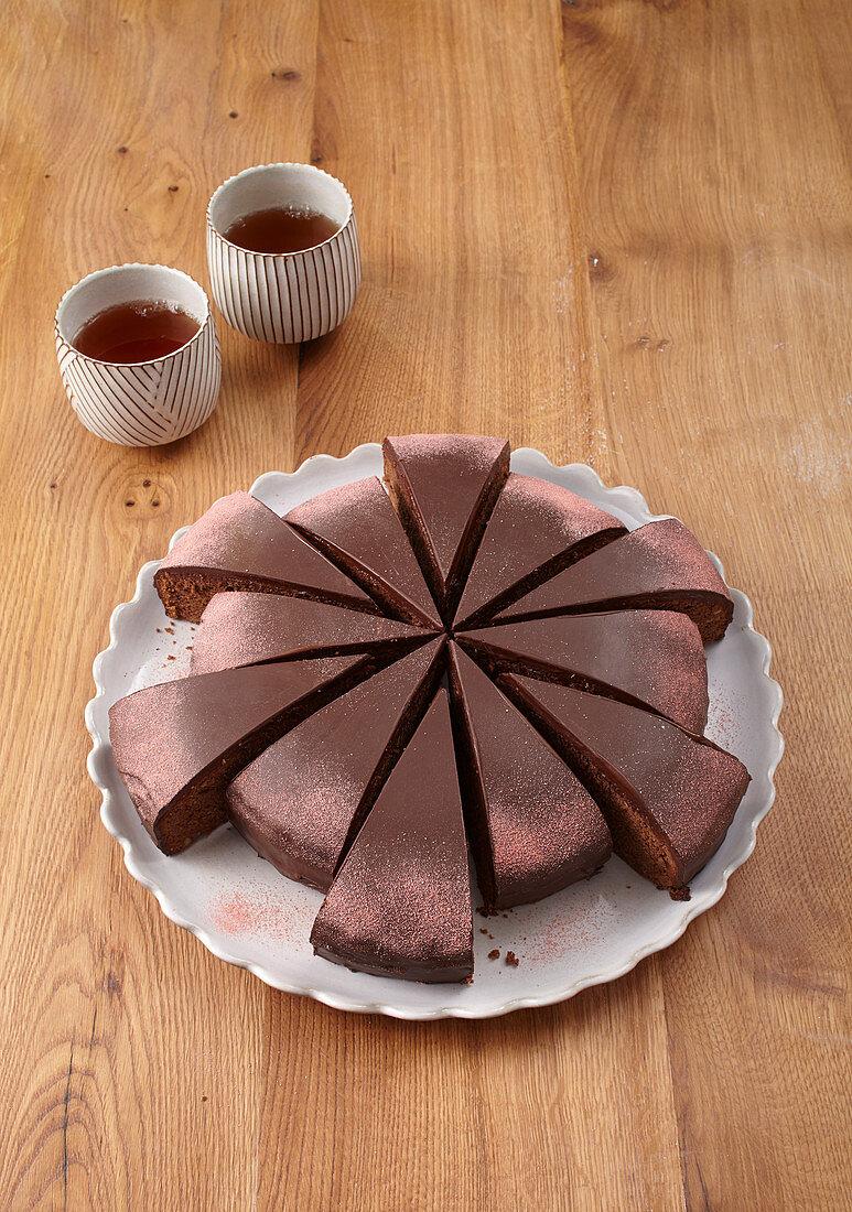 Marzipan and chocolate cake
