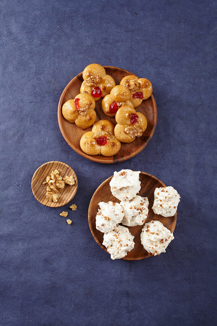 Marzipan macaroons with apricot glaze, and date macaroons