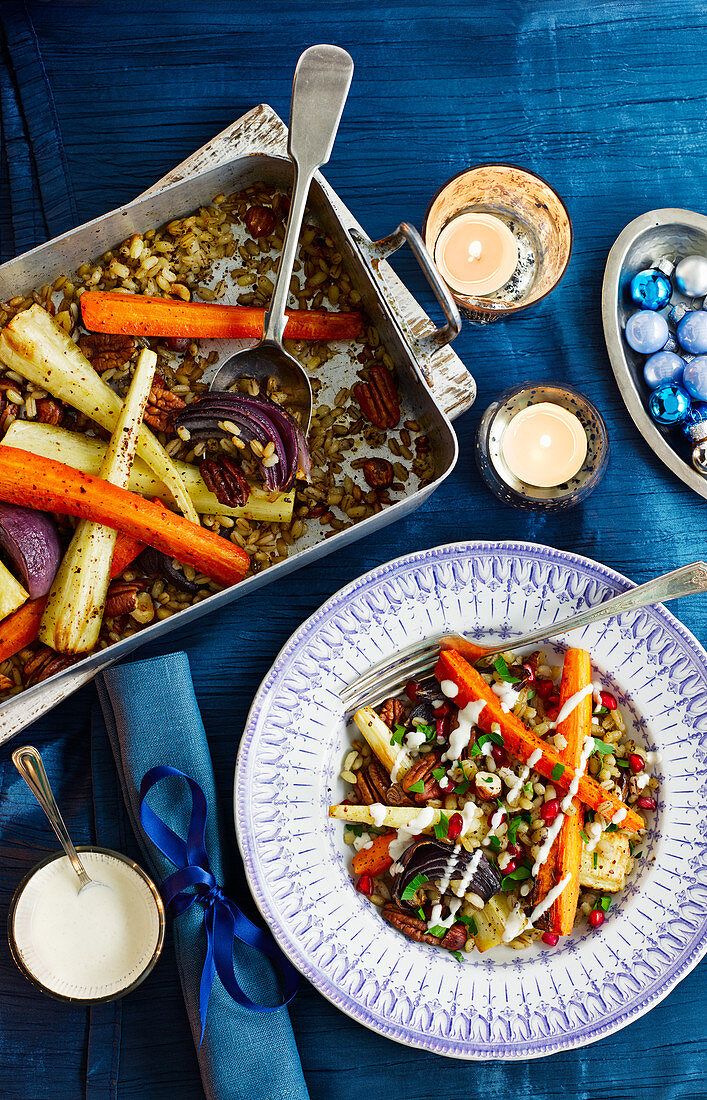 Root vegetable casserole with nuts (Christmas)