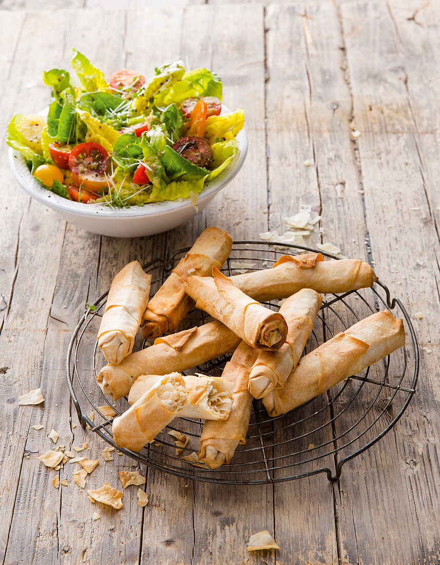 Alpine cheese rolls with salad