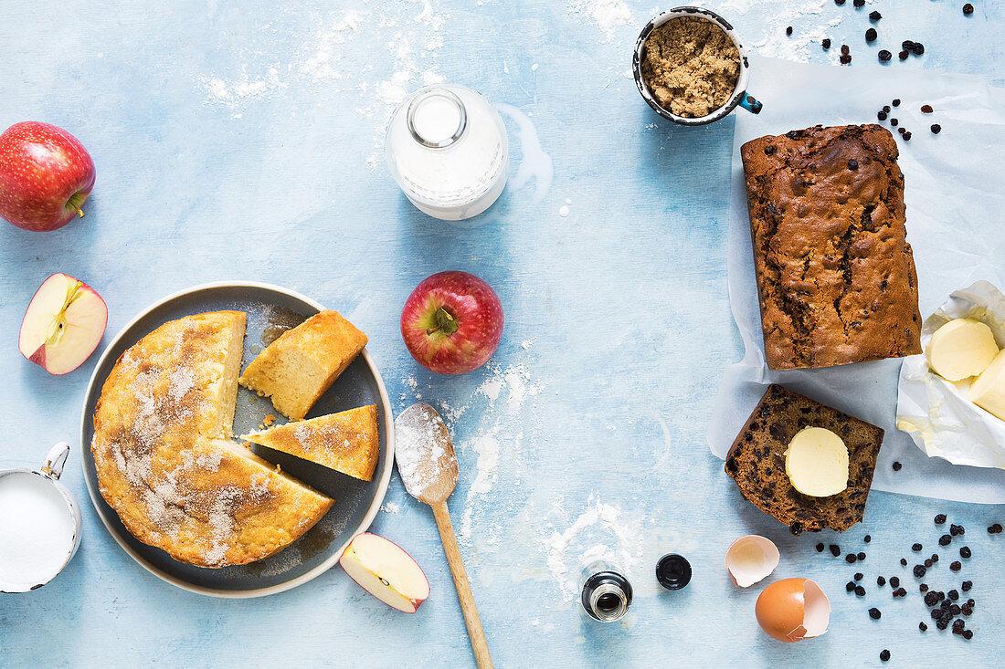 Cinnamon and apple tea cake and Irish barmbrack tea cake