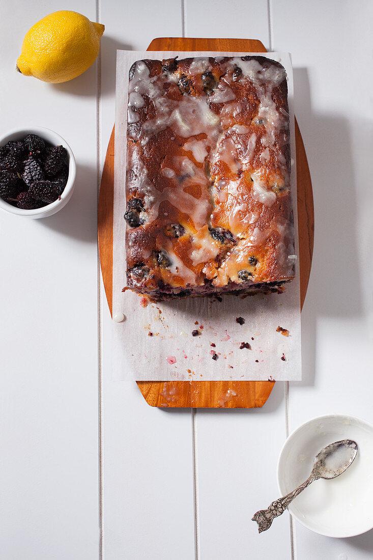 Mulberry bread with lemon glaze