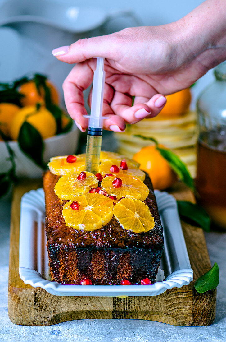 Tangerine cake soaked in syrup