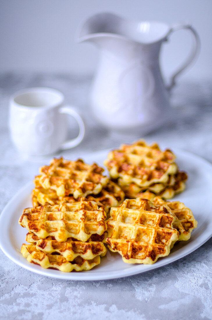 Belgian waffles, made from potato dough