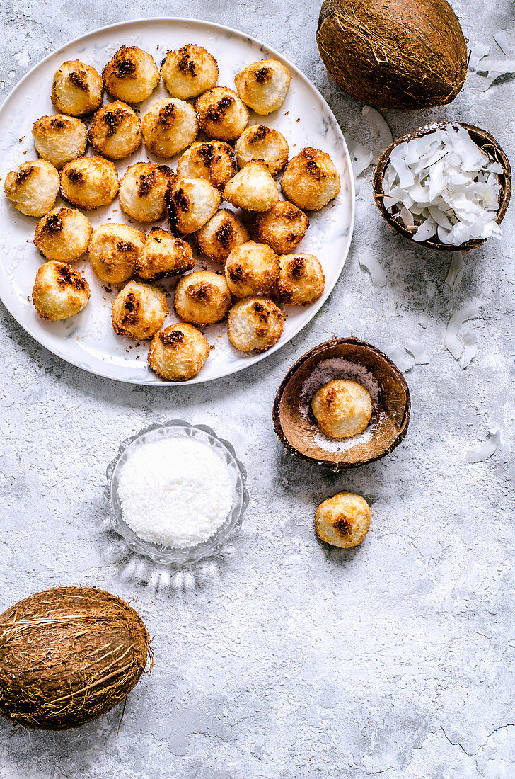 Coconut biscuits in coconut shell, coconuts and coconut chips