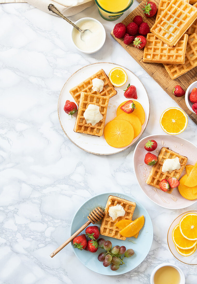 Breakfast waffles with fresh fruits