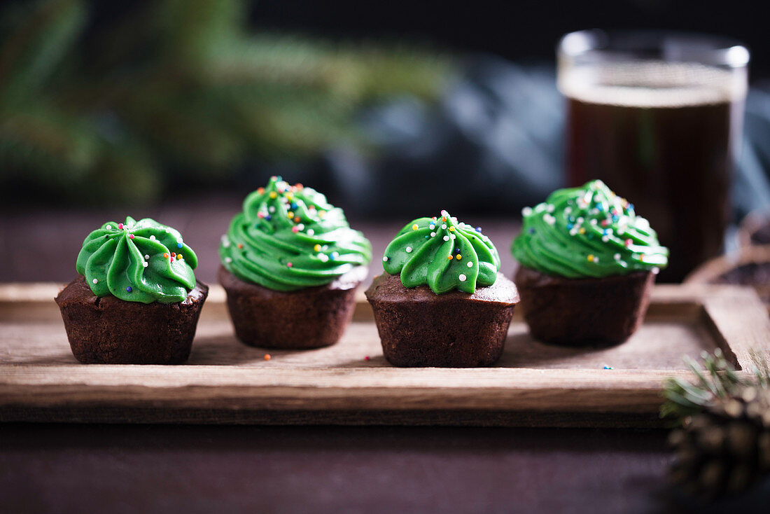 Vegan chocolate spiced cupcakes with a creamy matcha tea frosting